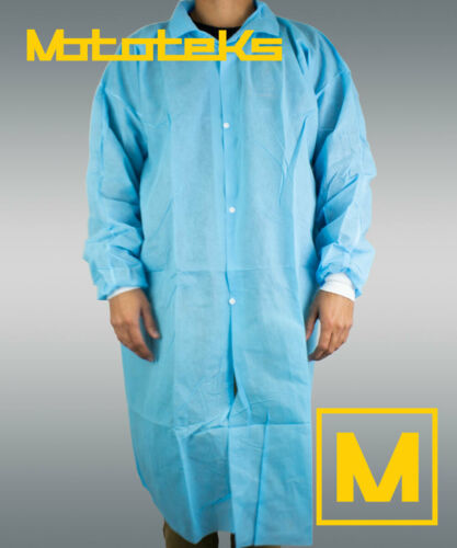 Disposable Lab Coat XL 10pcs Protective Sanitary Gown Blue Medical, Restaurant