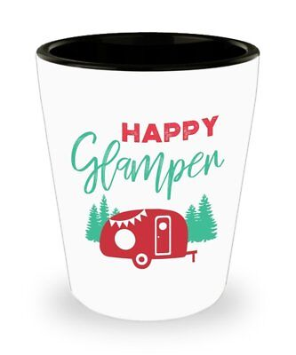 Happy Glamper Shot Glasses - Camping Gifts - Novelty Birthday Gift - Birthday Shot Glasses