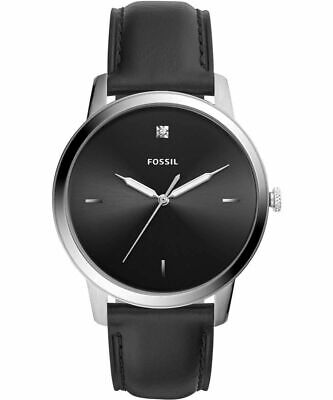 Mens's Fossil Watch Minimalist Carbon Series Black Leather Watch FS5497