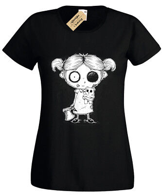Zombie Girl Ladies T-Shirt goth rock burton halloween spooky undead womens top](Girl Zombie Halloween)