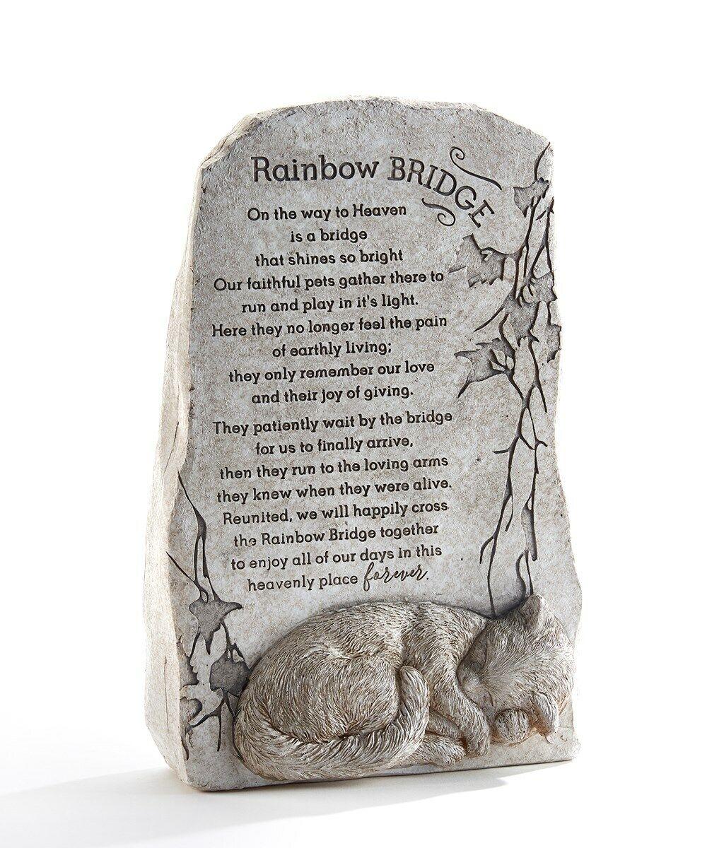 11.6 Memorial Up Right Cat Sentiment Rainbow Bridge Stone Statuary Poly Resin - CA$59.99