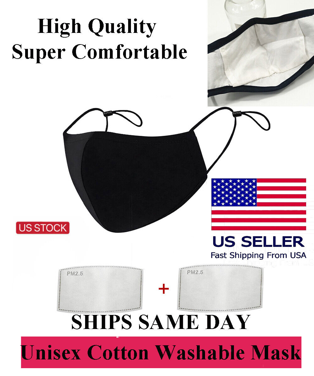 Cotton Mouth Face Mask Anti-Dust Reusable Washable 5 layers plus 2 filters Business & Industrial
