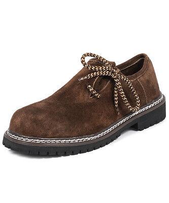Wildleder Schuhe (Trachten Schuhe Herren Haferlschuhe - 100% Wildleder Dunkelbraun )