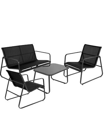 Garden Furniture - Garden Furniture Set 4 Seater Sofa Chairs Table Outdoor Lounge Set Patio Black