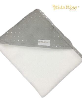 3 Sets Kidz Kiss Velour Hooded Towel with Mitt / Bag /Washcloth[Petit Dots/Grey]