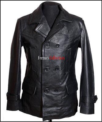 DR Black German U-boat Kriegsmarine Reefer Cowhide Leather Deck Jacket Pea Coat