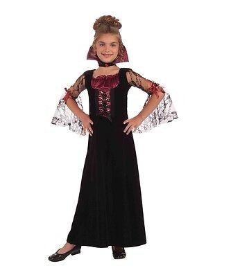 Vampir Mittelalterlich Goth Queen Kleid Kinder Mädchen Halloween Kostüm (Alten Vampir Kostüme)