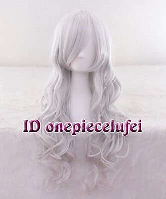 Black Cat Long Silver Grey Heat Resistant Anime Cosplay Wig CC68 +a wig cap