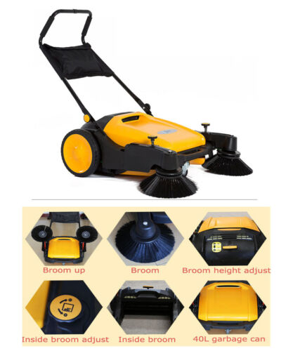 """39.5"""" width Portable Push Power Sweeper Pavement Sweeper Cleaner Hard Rubber"""