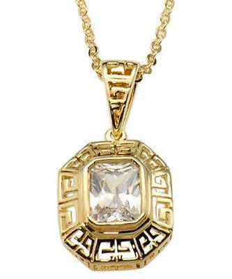 Emerald Cut Cubic Zirconia Greek Key Gold Tone Solitaire Pendant/Necklace 18
