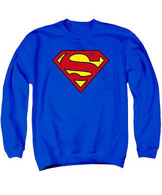 Classic Crewneck Sweatshirt - SUPERMAN CLASSIC LOGO Licensed Adult Pullover Crewneck Sweatshirt SM-3XL