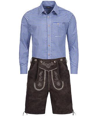 Trachten SET Herren - Lederhose Kurz Dunkelbraun + Hemd Blau