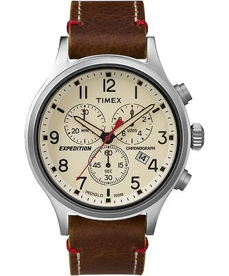 Timex Tw4b04300  Mens Expedition Scout Leather Chronograph Watch  Tw4b043009j