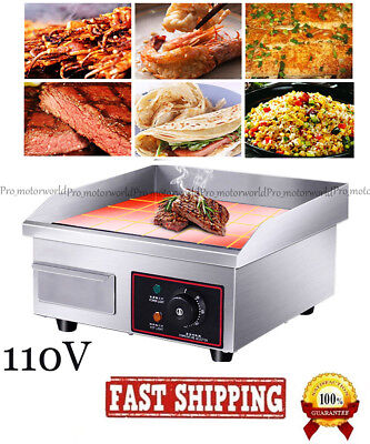 Us14 1500w Electric Countertop Griddle Flat Top Commercial Restaurant Grill Bbq