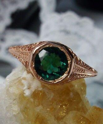 Natural Green Emerald Sterling Silver & Rose Gold Edwardian Filigree Ring Size 7