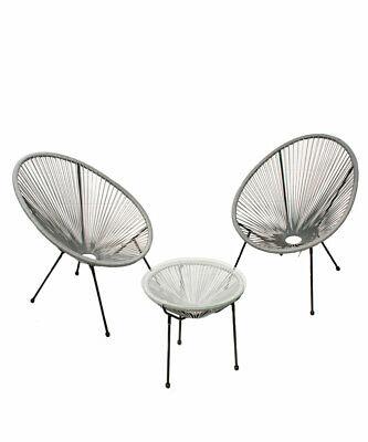 Garden Furniture - Garden String Furniture Bistro Set 3PC Chairs Glass Top Table Patio Light Grey
