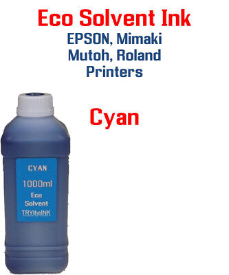 Eco Solvent Ink Cyan 1000ml Epson Dx5 Dx7 Printhead Mimaki Roland Mutoh
