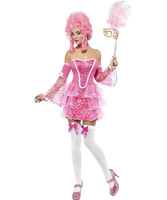 Sexy Halloween Adult Pink Sparkle Marie Antoinette French Revolution Costume