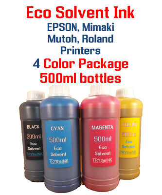 Eco Solvent Ink 4 Multi-color 500ml Each Epson Roland Mimaki Mutoh Printers