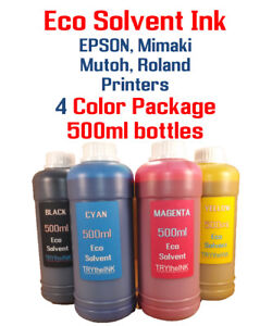 Eco solvent Ink 4 multi-color 500ml each EPSON, Roland, Mimaki, Mutoh printers