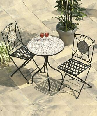 Garden Furniture - Mosaic Bistro Set Garden Furniture 2 Seater Table Folding 3PC Metal