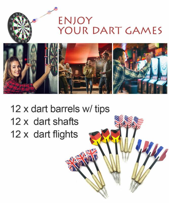 12sets of Steel Tip Darts Slim Barrel With Nice Dart Flights Dart Tips