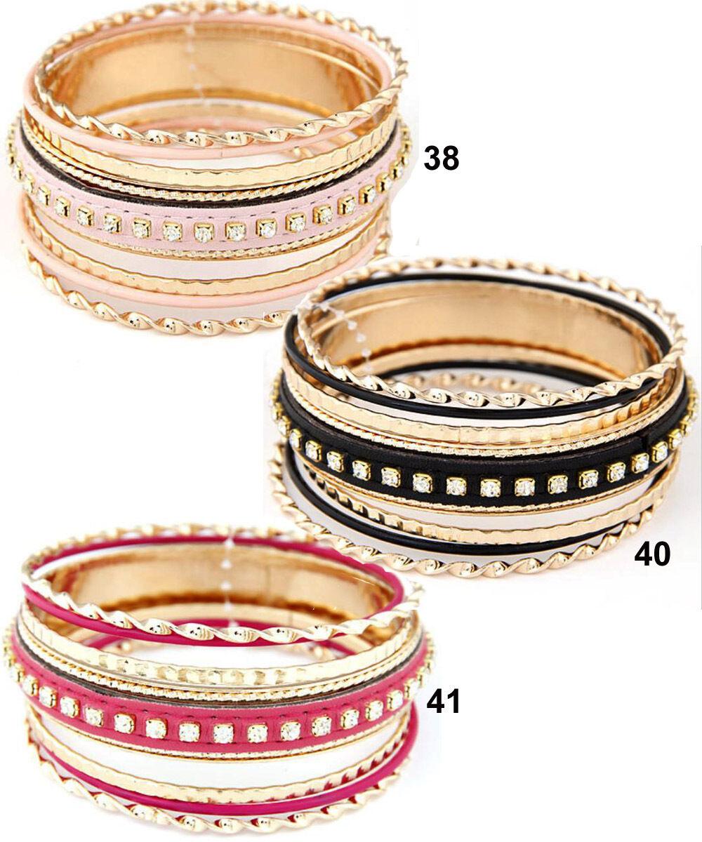 7 TEILIGES Armreifen Set für Frauen Damen Kunstleder Strassteine Armband