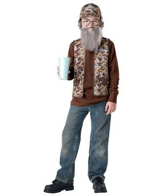 Boys Duck Dynasty Halloween Costume Uncle Si Bandana Wig Beard Vest Glasses Sz - Duck Dynasty Halloween Costumes Uncle Si