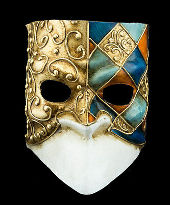 Mask Venice Bauta Blue golden orange for man-paper mash- 2158 -CB3