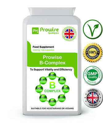 - Vitamin B Complex 120 Capsules Support Vitality & Efficiency UK Made -Prowise