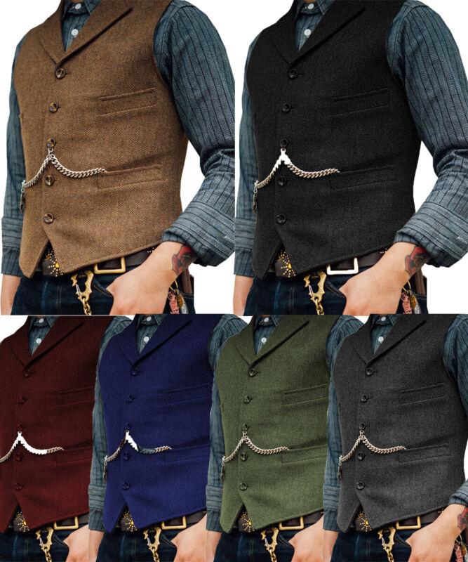 Mens Vintage Tweed Waistcoat Vest Wool Herringbone Notch Lapel Silm Fit S-XL-3XL