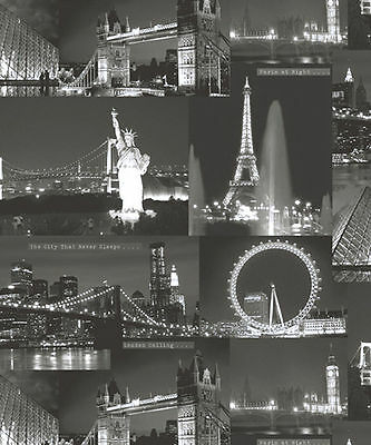 Night City Black White London New York Cityscape Feature Wallpaper 11330 Holden