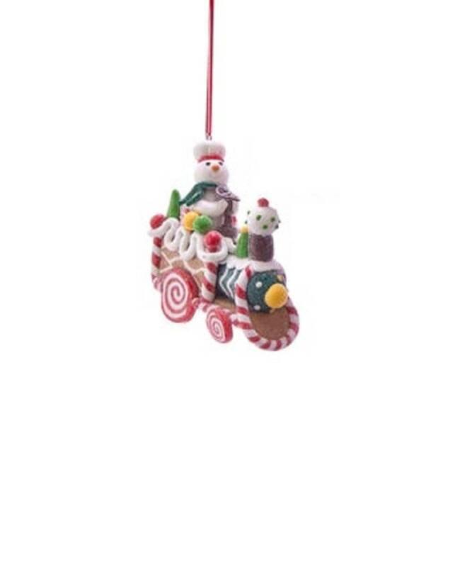 Kurt Adler Gingerbread Snowman Riding Candy Train Christmas Ornament D3629