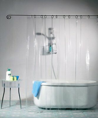 Clear Solid Waterproof Shower Curtain Liner with Hooks 72x72 Inch