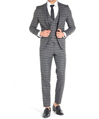 in Grau Kariert mit Weste -Anzug-Hochzeit-Bühne-Sakko (Karierten Anzug)