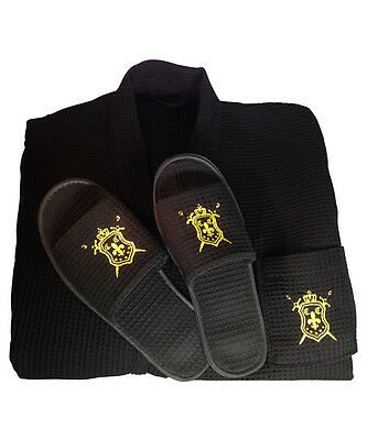 Spa Robe (Luxury Mens Spa Bath Robe, with Matching Non-slip Slippers (Foot Size 7-10))
