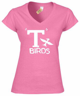 Damen T Birds T-Shirt Grease Kostüm Pink Damen Top Geschenk Sandy - Grease Sandy Kostüm Shirt