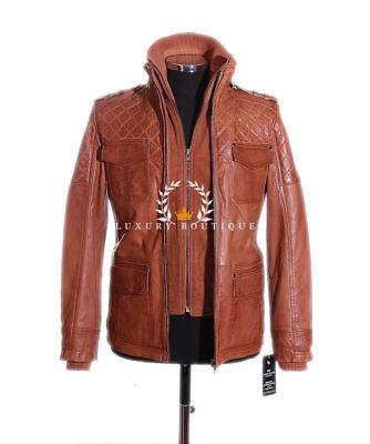 Franco Tan Men's Quilted Safari Lambskin Leather Jacket 'WAREHOUSE (Franco Warehouse)
