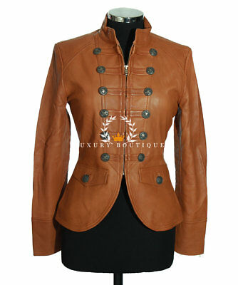 Scarlet Tan Ladies Military Lambskin Leather Jacket WAREHOUSE CLEARANCE SIZE:10](Clearance Combat Boots)