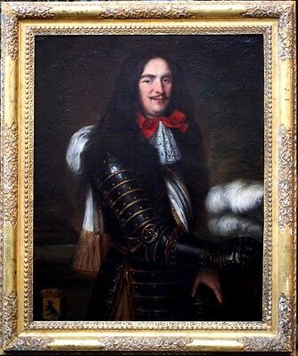 Ritratto di Uomo in Armor 18th Secolo Stupefacente Antico Originale Olio Pittura