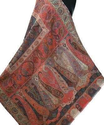 "Sunset Red Orange & Pink Large Kani Jamavar Shawl Wool Stole  80""x40"" Detailed for sale  Shipping to India"
