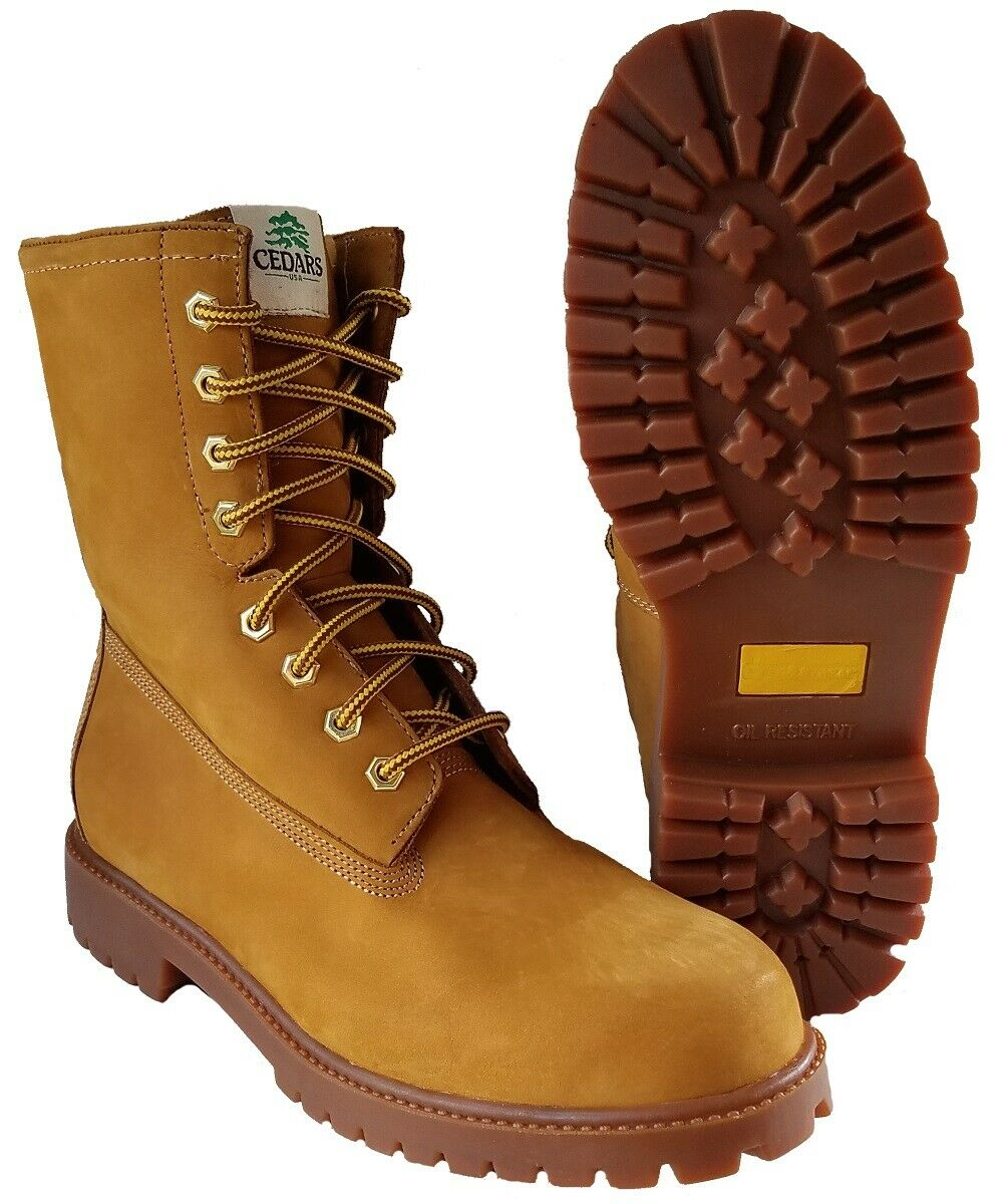 Men's 8 Inch Leather Work Boots-Lace Up, Soft Toe, Lug Sole,