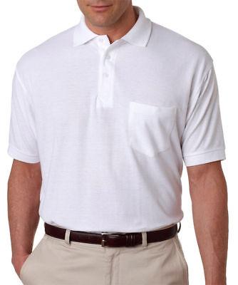 UltraClub Men's Adult Whisper Pique Polo Shirt with Pocket, Pack5. 8544 Adult Whisper Pique Polo