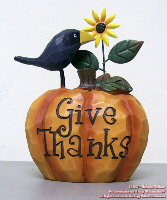 """NEW FALL THANKSGIVING PUMPKIN WITH CROW & SUNFLOWER  """" GIVE THANKS"""" AUTUMN TABLE"""