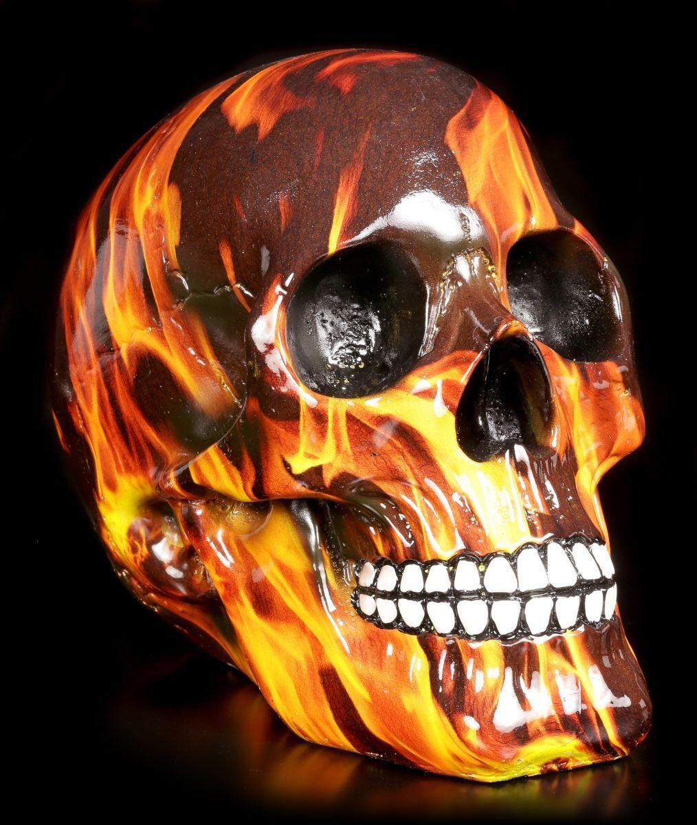 Bunter Totenkopf Mit Flammen - Inferno - Figur Feuer Schädel Skull