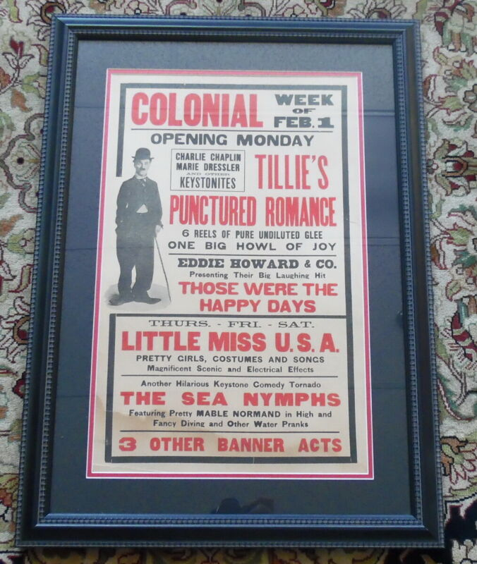 1915 Charlie Chaplin Colonial Theater Silent Movie Broadside Framed Advertising