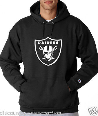 Oakland Raiders Logo Champion Hoodie Pullover Jumper Adult Sweatshirt New Black