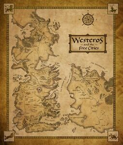 Game Of Thrones Houses Map Westeros And Free Cit TV Show Fabric Poster 16