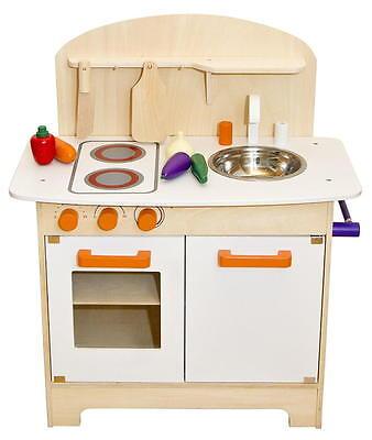 Kinderküche aus Holz Spielküche Küche Kinder Spielzeug Holzküche weiß orange NEU