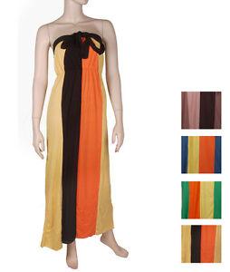 Women-s-Long-Maxi-Tie-Up-Halter-Dress-Full-Length-Multi-Color-Block-Jersey-Knit